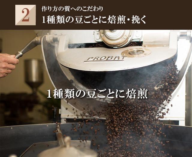 1種類の豆ごとに焙煎
